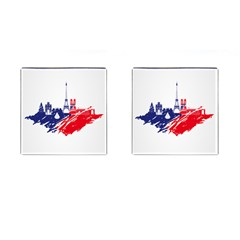 Eiffel Tower Monument Statue Of Liberty France England Red Blue Cufflinks (square)