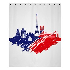 Eiffel Tower Monument Statue Of Liberty France England Red Blue Shower Curtain 60  x 72  (Medium)