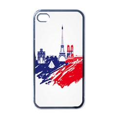 Eiffel Tower Monument Statue Of Liberty France England Red Blue Apple iPhone 4 Case (Black)