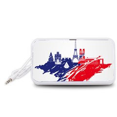 Eiffel Tower Monument Statue Of Liberty France England Red Blue Portable Speaker (White)