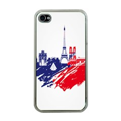 Eiffel Tower Monument Statue Of Liberty France England Red Blue Apple iPhone 4 Case (Clear)