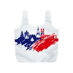 Eiffel Tower Monument Statue Of Liberty France England Red Blue Full Print Recycle Bags (S)