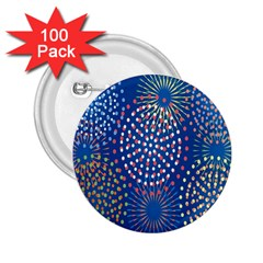Fireworks Party Blue Fire Happy 2.25  Buttons (100 pack)