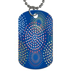 Fireworks Party Blue Fire Happy Dog Tag (One Side)