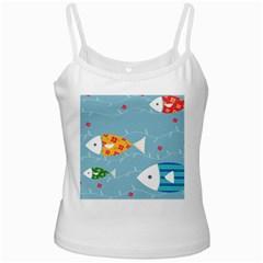 Fish Cute Swim Blue Sea Ladies Camisoles