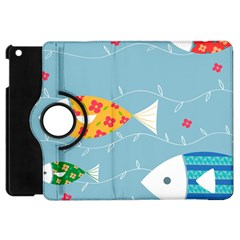 Fish Cute Swim Blue Sea Apple iPad Mini Flip 360 Case
