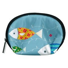 Fish Cute Swim Blue Sea Accessory Pouches (Medium)
