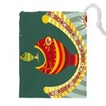 Fish Predator Sea Water Beach Monster Drawstring Pouches (XXL) Front