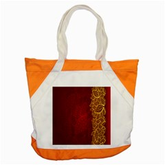 Floral Flower Golden Red Leaf Accent Tote Bag