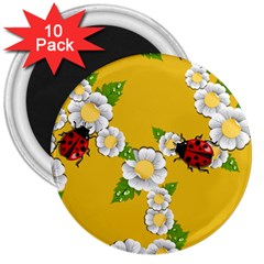 Flower Floral Sunflower Butterfly Red Yellow White Green Leaf 3  Magnets (10 pack)