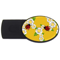 Flower Floral Sunflower Butterfly Red Yellow White Green Leaf USB Flash Drive Oval (4 GB)