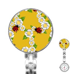 Flower Floral Sunflower Butterfly Red Yellow White Green Leaf Stainless Steel Nurses Watch