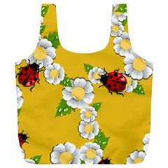 Flower Floral Sunflower Butterfly Red Yellow White Green Leaf Full Print Recycle Bags (L)