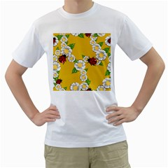 Flower Floral Sunflower Butterfly Red Yellow White Green Leaf Men s T-Shirt (White)