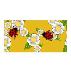 Flower Floral Sunflower Butterfly Red Yellow White Green Leaf Satin Wrap