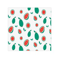 Fruit Green Red Guavas Leaf Small Satin Scarf (Square)