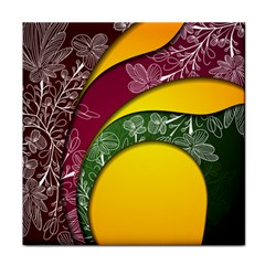 Flower Floral Leaf Star Sunflower Green Red Yellow Brown Sexxy Tile Coasters