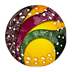 Flower Floral Leaf Star Sunflower Green Red Yellow Brown Sexxy Ornament (Round Filigree)