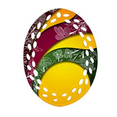 Flower Floral Leaf Star Sunflower Green Red Yellow Brown Sexxy Ornament (Oval Filigree)