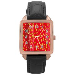 Fruit Seed Strawberries Red Yellow Frees Rose Gold Leather Watch