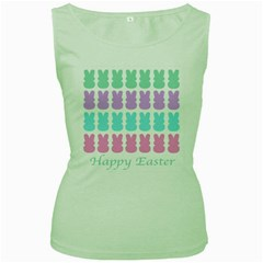 Happy Easter Rabbit Color Green Purple Blue Pink Women s Green Tank Top