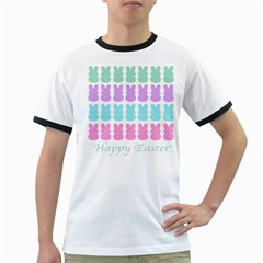 Happy Easter Rabbit Color Green Purple Blue Pink Ringer T-Shirts