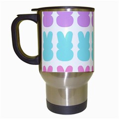 Happy Easter Rabbit Color Green Purple Blue Pink Travel Mugs (White)