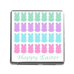 Happy Easter Rabbit Color Green Purple Blue Pink Memory Card Reader (Square)