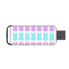 Happy Easter Rabbit Color Green Purple Blue Pink Portable USB Flash (One Side)