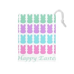 Happy Easter Rabbit Color Green Purple Blue Pink Drawstring Pouches (medium)