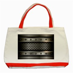 Iron Content Hole Mix Polka Dot Circle Silver Classic Tote Bag (red)