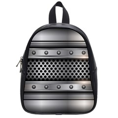 Iron Content Hole Mix Polka Dot Circle Silver School Bags (Small)