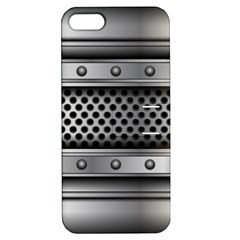 Iron Content Hole Mix Polka Dot Circle Silver Apple iPhone 5 Hardshell Case with Stand