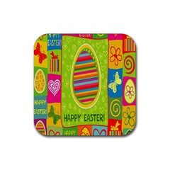 Happy Easter Butterfly Love Flower Floral Color Rainbow Rubber Coaster (Square)