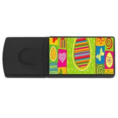 Happy Easter Butterfly Love Flower Floral Color Rainbow USB Flash Drive Rectangular (1 GB)