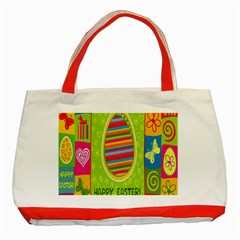 Happy Easter Butterfly Love Flower Floral Color Rainbow Classic Tote Bag (red)