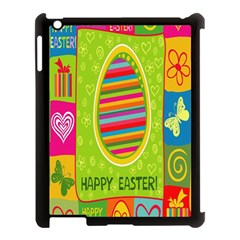 Happy Easter Butterfly Love Flower Floral Color Rainbow Apple iPad 3/4 Case (Black)