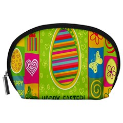 Happy Easter Butterfly Love Flower Floral Color Rainbow Accessory Pouches (Large)