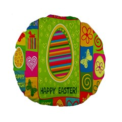 Happy Easter Butterfly Love Flower Floral Color Rainbow Standard 15  Premium Flano Round Cushions
