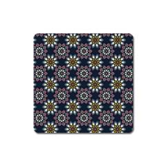 Floral Flower Star Blue Square Magnet