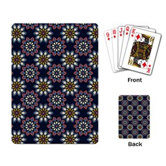 Floral Flower Star Blue Playing Card