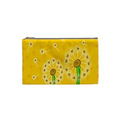 Leaf Flower Floral Sakura Love Heart Yellow Orange White Green Cosmetic Bag (Small)
