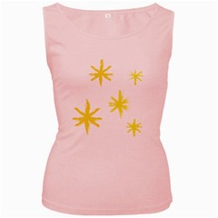 Line Painting Yellow Star Women s Pink Tank Top