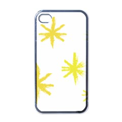 Line Painting Yellow Star Apple Iphone 4 Case (black)