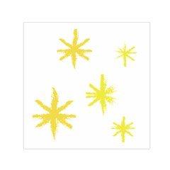 Line Painting Yellow Star Small Satin Scarf (Square)