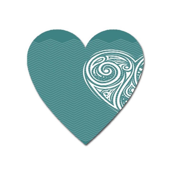 Line Wave Chevron Star Blue Love Heart Sea Beach Heart Magnet