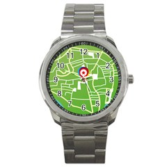 Map Street Star Location Sport Metal Watch