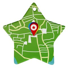Map Street Star Location Star Ornament (two Sides)