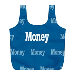 Money White Blue Color Full Print Recycle Bags (l)