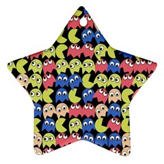 Pacman Seamless Generated Monster Eat Hungry Eye Mask Face Color Rainbow Ornament (Star)